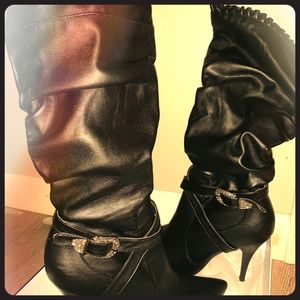 Black Leather High Heel Boots Rhinestone Buckles